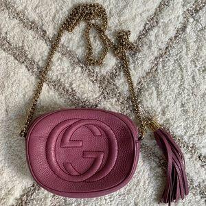 Gucci mini soho chain crossbody bag. Dark Mauve